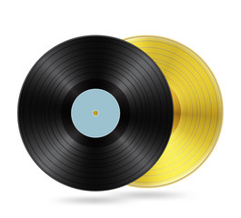 Black vinyl and golden disc with blank label