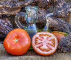 Tomates y aceite de oliva