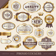 golden promo stickers, seals and badges