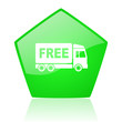 free delivery green pentagon web glossy icon