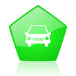 car green pentagon web glossy icon