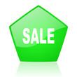 sale green pentagon web glossy icon