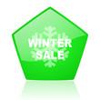 winter sale green pentagon web glossy icon