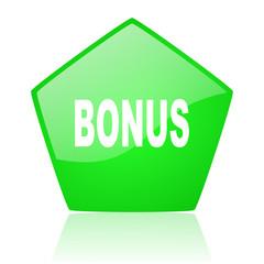 bonus green pentagon web glossy icon