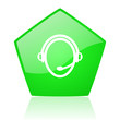 customer service green pentagon web glossy icon