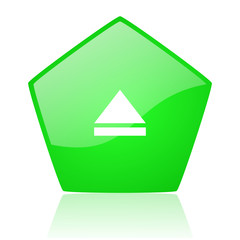 eject green pentagon web glossy icon