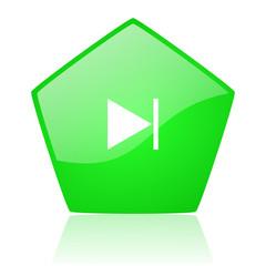 next green pentagon web glossy icon