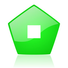 stop green pentagon web glossy icon