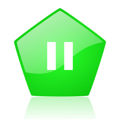 pause green pentagon web glossy icon