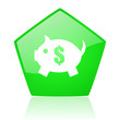 piggy bank green pentagon web glossy icon