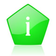 information green pentagon web glossy icon