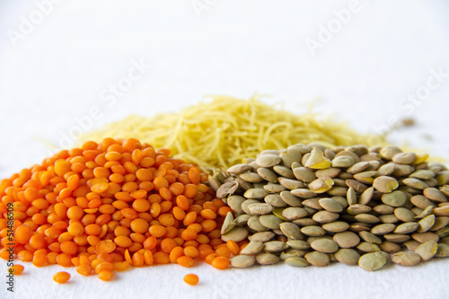 Close up of red green lentils and vermicelli