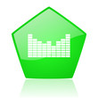sound green pentagon web glossy icon