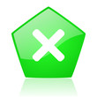 cancel green pentagon web glossy icon