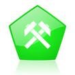mining green pentagon web glossy icon