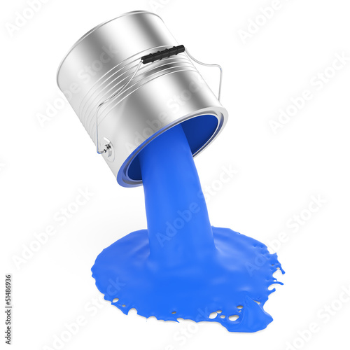 pouring blue paint