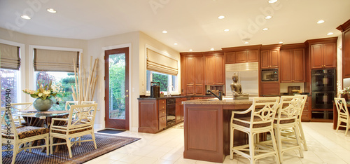 Panorama of Kitchen in New Luxury Home