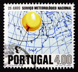 Postage stamp Portugal 1971 Weather Balloon and Weather Map