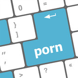 Porn button on computer pc keyboard, raster poster