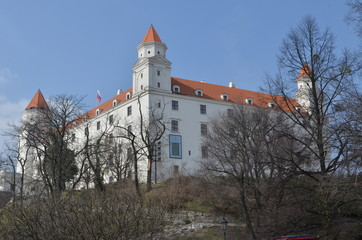 Down view of Bratislava Castle and the royal garden