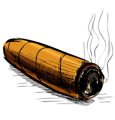 Lighting cigar sketch vector illustration