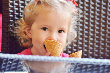 baby girl with ice cream