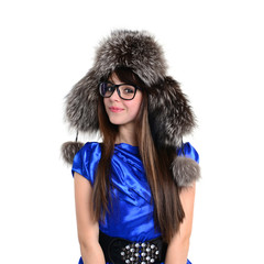 nice smiling young teen in fur hat and glasses
