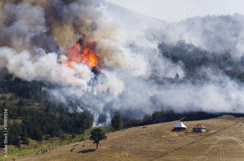 Leinwandbild Motiv Large fire on Mount. Log cabins are in danger.