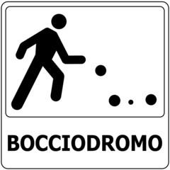 CARTELLO INDICATORE BOCCIODROMO CAMPO GIOCO DELLE BOCCE