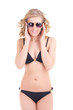 beautiful curly blonde in black swimsuit and sunglasses