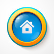 Blue glass vector home button