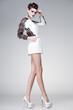 beautiful woman dressed elegant posing glamorous - studio shot