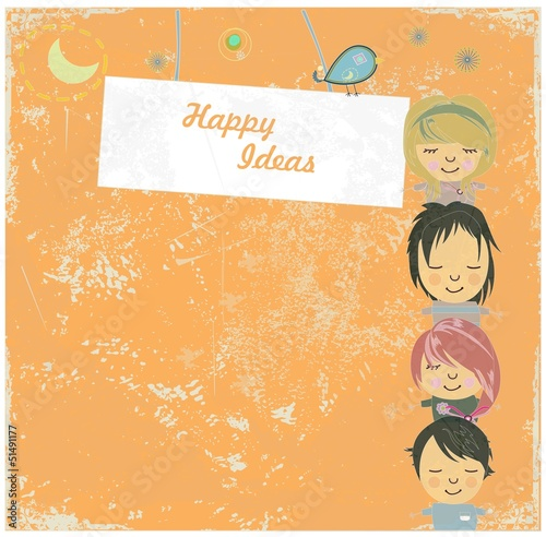Happy children with banner vector background