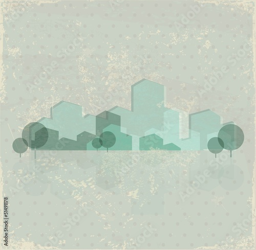 Green town vector background