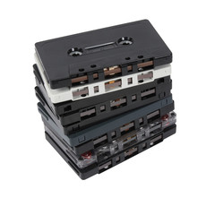 Stack of old cassette tapes