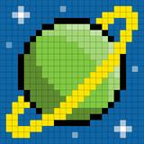 8-bit pixel ringed planet
