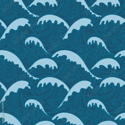 Cotton fabric Sea seamless pattern