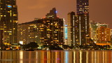 Miami skyline at dusk time lapse pan