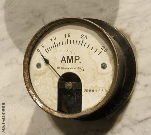 Leinwandbild Motiv Vintage ammeter closeup