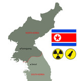 North Korea vector map with flags and nuclear symbol.