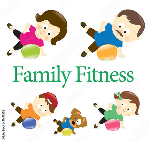 Family fitness with exercise ball