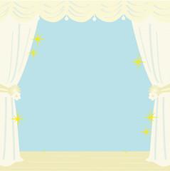 窓辺 カーテン 背景