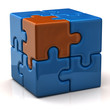 Blue puzzle cube with one orange piece
