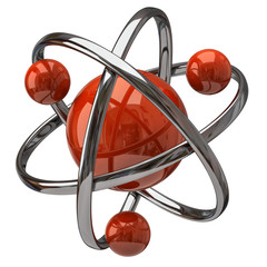 3d atom isolated on white backgound