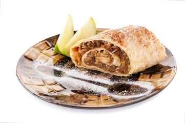 Plate with a piece of apple strudel