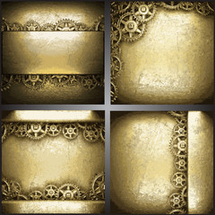 gear wheels on gold background set