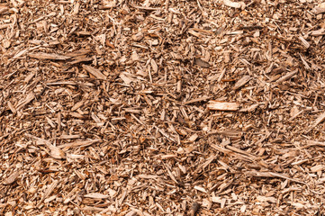 Closeup of a heap of woodchips from shredded trees
