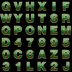 golden alphabet with green
