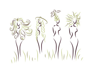 Vector women silhouettes with different hairstyle
