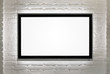 Blank HD TV at the brick wall with copy space